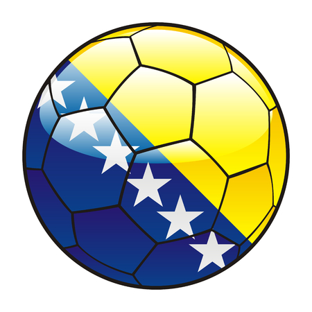 bosnia and herzegovina: vector illustration of Bosnia and Herzegovina flag on soccer ball Illustration