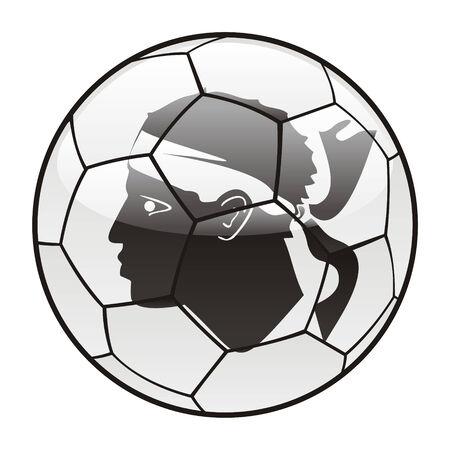 corsica: vector illustration of Corsica flag on soccer ball Illustration