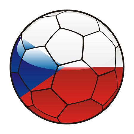 czech flag: Vector illustration del ceco bandiera sul pallone da calcio Vettoriali