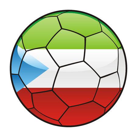 ilustración vectorial de bandera de Guinea Ecuatorial en el balón de fútbol