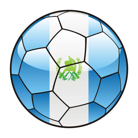 bandera de guatemala: ilustraci�n vectorial de la bandera de Guatemala en el bal�n de f�tbol