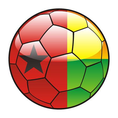 bissau: vector illustration of Guinea Bissau flag on soccer ball