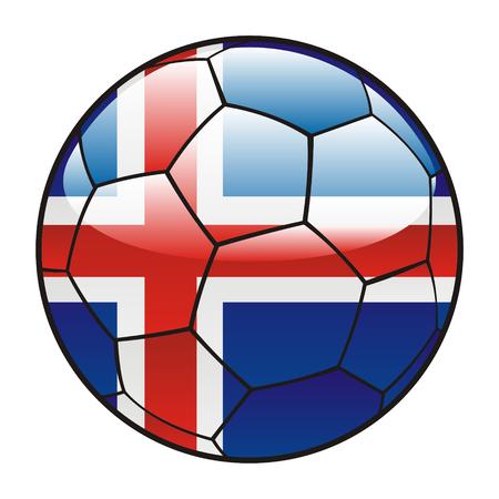 vector illustration of Iceland flag on soccer ball