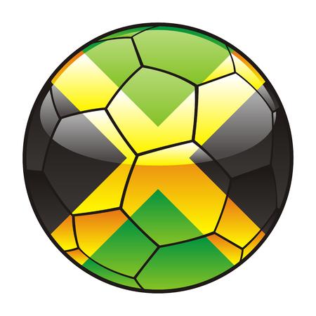 vector illustration of Jamaica flag on soccer ball Vector