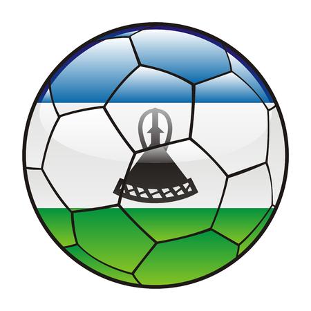 lesotho: vector illustration of Lesotho flag on soccer ball