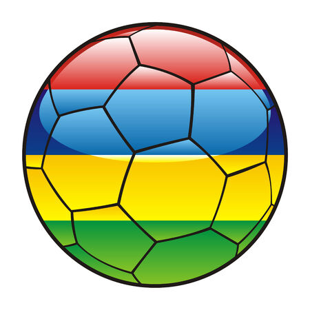 mauritius: vector illustration of Mauritius flag on soccer ball