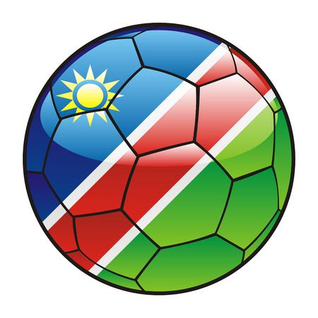 vectorillustratie van Namibië vlag op voetbal