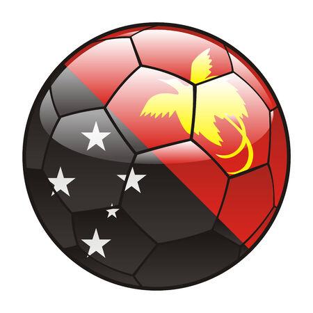 papouasie: illustration vectorielle du drapeau de la Papouasie Nouvelle-Guin�e le ballon de soccer