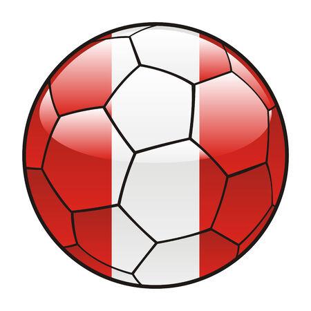 bandera de peru: ilustraci�n vectorial de bandera de Per� sobre el bal�n de f�tbol