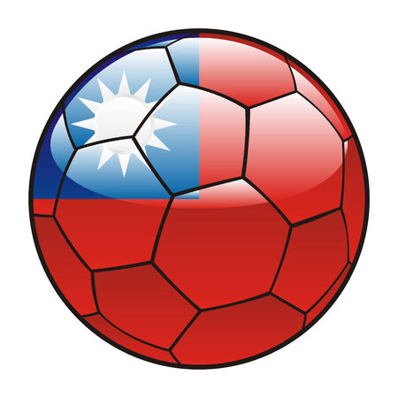 illustration vectorielle de Taiwan indicateur sur ballon de soccer