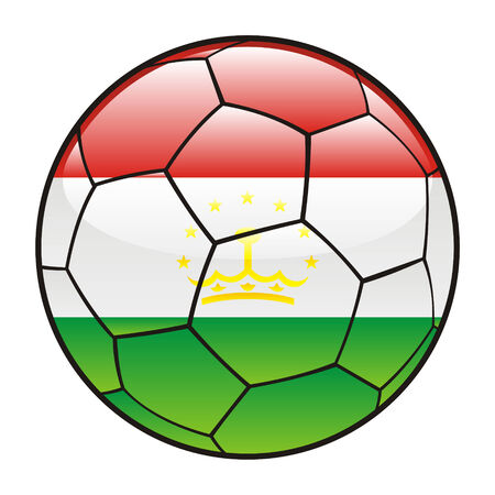 tajikistan: vector illustration of Tajikistan flag on soccer ball