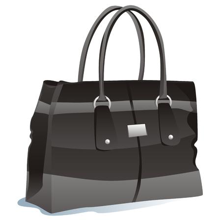 leather bag: fully editable illustration of isolated bag Illustration