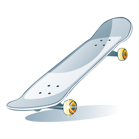 fully editable vector illustration of isolated colored skateboard