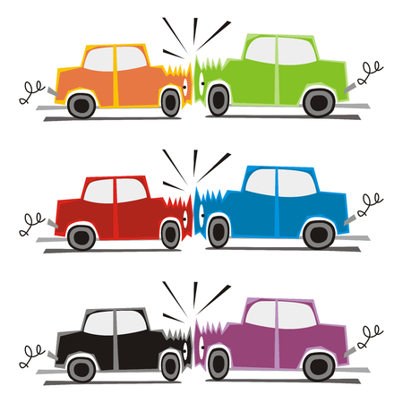 accident car: fully editable vector illustration of two cars crash