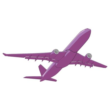 aluminum airplane: fully editable illustration airliner
