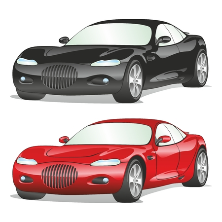 coches de ilustración totalmente editables