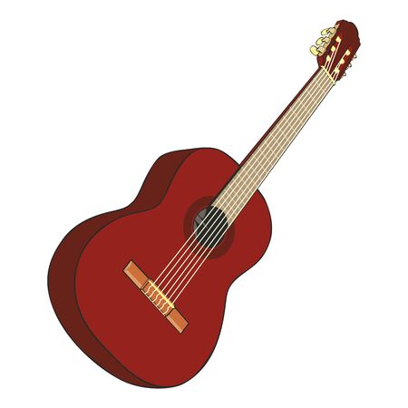 fully editable  illustration classic guitar Vector