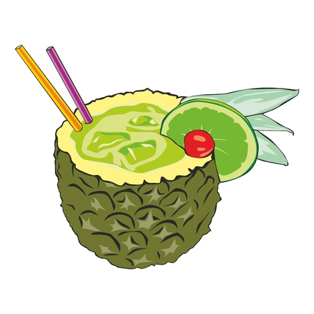 pineapple slice: fully editable  illustration of pineapple cocktail