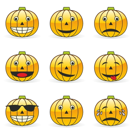 pumpkin patch:  illustration of pumpkin emoticons Illustration