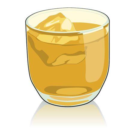 fully editable   illustration whiskey glass Stock Vector - 7810059