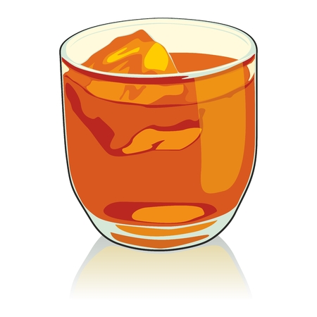 scotch: fully editable   illustration whiskey glass Illustration