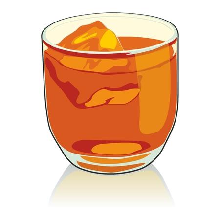 scotch: volledig bewerkbare illustratie whisky glas