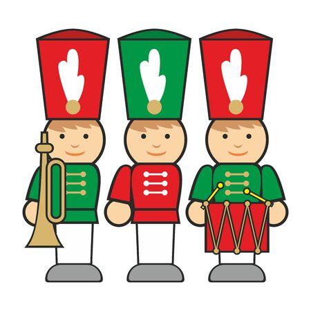 red drum: fully editable  illustration wooden soldiers