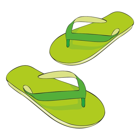 fully editable illustration beach slippers