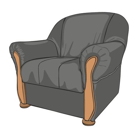 sofa viejo: ilustraci�n vectorial completamente editable de sill�n aislado de color