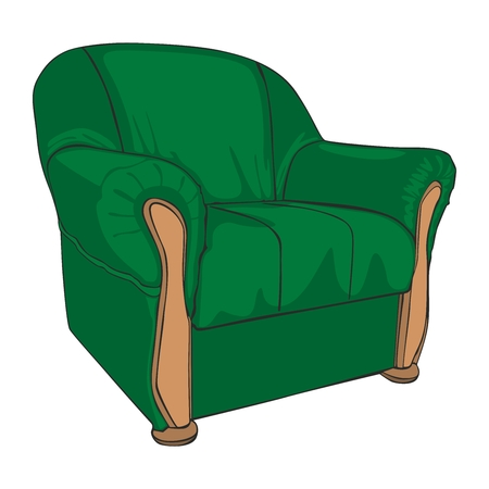leather armchair: fully editable vector illustration of isolated colored armchair
