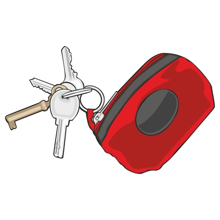 fully editable vector illustration of isolated colored keyholder with keys Stock Vector - 8143228