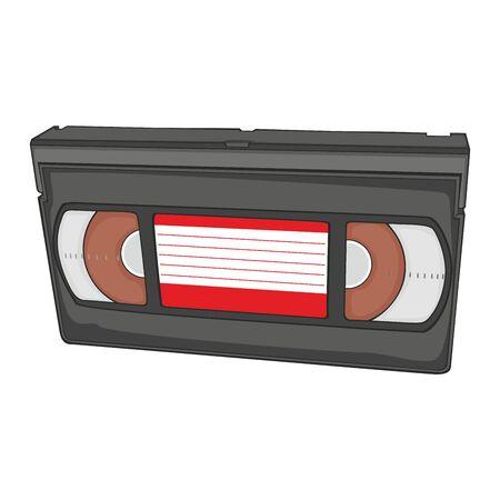vcr: fully editable illustration of isolated video cassette Illustration