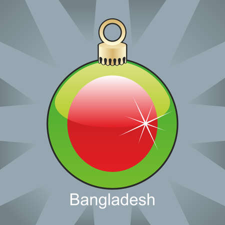 bangladesh: fully editable illustration of isolated bangladesh flag in christmas bulb shape
