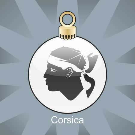 corsica: fully editable illustration of isolated corsica flag in christmas bulb shape