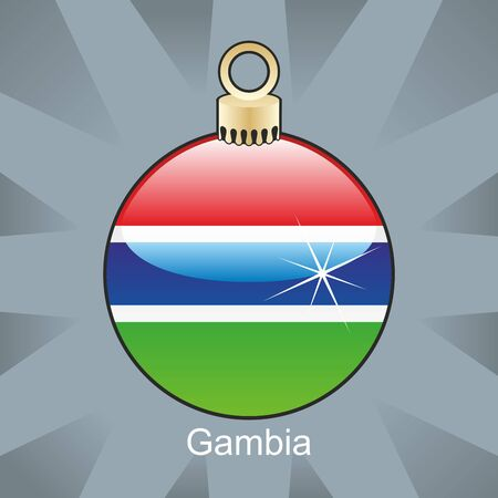 gambia: fully editable illustration of isolated gambia flag in christmas bulb shape