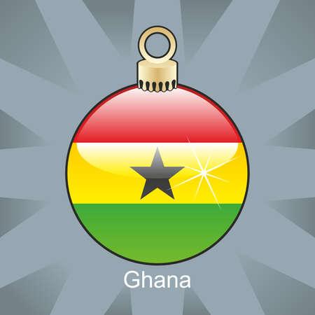 ghana: fully editable illustration of isolated ghana flag in christmas bulb shape