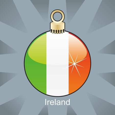 ireland flag: fully editable illustration of isolated ireland flag in christmas bulb shape