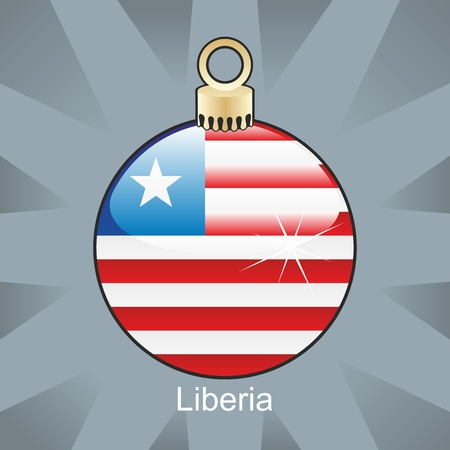 fully editable illustration of isolated liberia flag in christmas bulb shape Vector