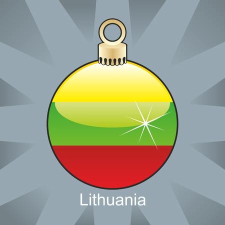 lithuania flag: fully editable illustration of isolated lithuania flag in christmas bulb shape