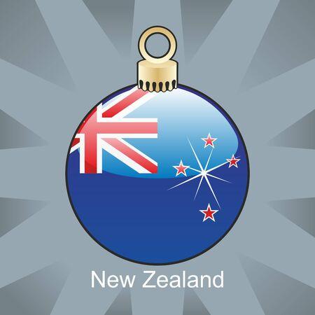 new zealand flag: completamente modificabili illustrazione della bandiera di nuova Zelanda isolato nella forma del bulbo di Natale