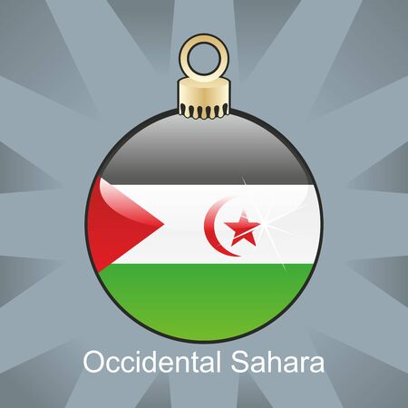 fully editable illustration of isolated occidental sahara flag in christmas bulb shape 일러스트