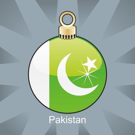 pakistan flag: fully editable illustration of isolated pakistan flag in christmas bulb shape