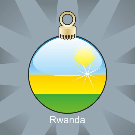 fully editable illustration of isolated rwanda flag in christmas bulb shape Vector