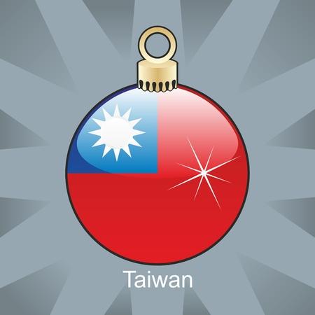 illustration entièrement modifiable de Taïwan isolé du pavillon en forme de bulbe de Noël