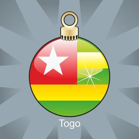 fully editable illustration of isolated togo flag in christmas bulb shape Stock Vector - 8420271