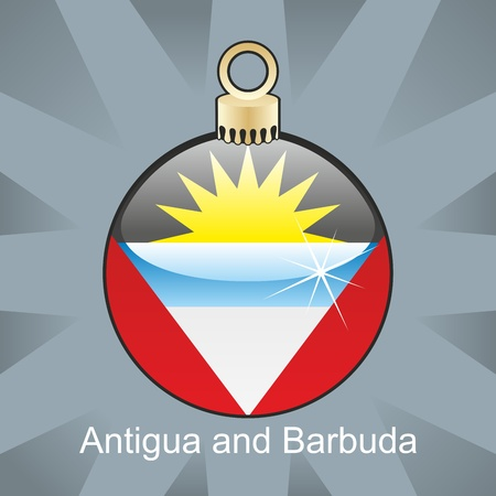 fully editable illustration of isolated antigua and barbuda flag in christmas bulb shape Stock Vector - 8420407