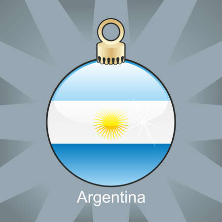 argentina flag: fully editable illustration of isolated argentina flag in christmas bulb shape