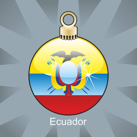 fully editable illustration of isolated ecuador flag in christmas bulb shape Vector