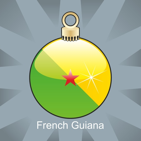 guiana: fully editable illustration of isolated french guiana flag in christmas bulb shape
