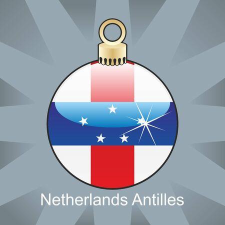 fully editable illustration of isolated netherlands antilles flag in christmas bulb shape Illustration